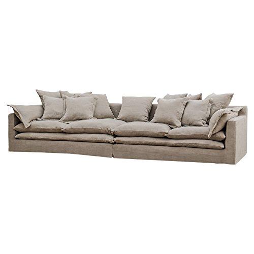 Donatella Coastal Beach Grey Sand Loose Pillow Sofa