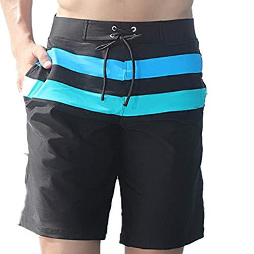ProDIgal Men's Quick Dry Swim Trunks Bathing Suit Striped Shorts with Pockets(Black-XXX-Large)