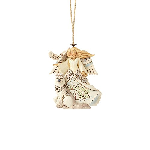 "Enesco Jim Shore Heartwood Creek White Woodland Angel with Husky Stone Resin, 4"" Hanging Ornament Multicolor"