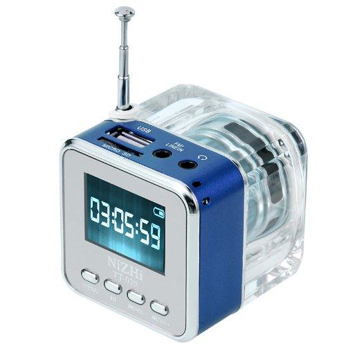 Portable NIZHI TT-029 Luminous LCD Mini Speaker TF Micro SD USB Disk WMA/WAV/MP3 music Player Clock Alarm FM Radio (blue) by NIZHI