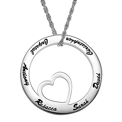 (LONAGO Personalized Family Name Generation Necklace Custom Open Circle with Heart Charm 925 Sterling Silver BrassEngraved Pendant BFF Jewelry Gift (White-Gold-Plated-Silver))