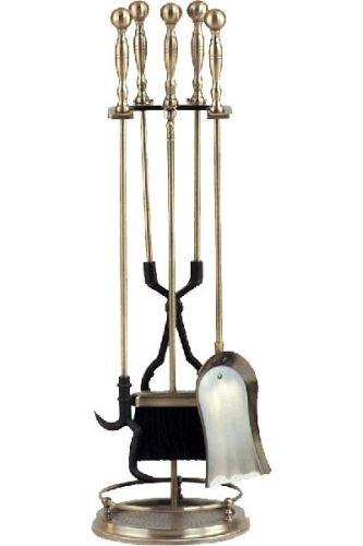 - Antique Brass 5 Piece Rail Fireset - 31 inch