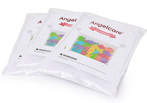 Angelcare Bath Toy Organizers(Value Pack!)-with 6 Extra Bonus Strong Hooked Suction Cups-Large Storage Mesh Bag for Bathtub & Shower Toys-Fast Drying and Mold Resistance(3 in 1 White Set)