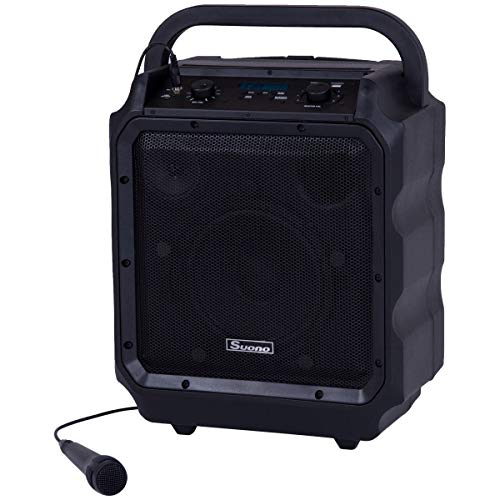 Suono 8'' Powered Speaker, Portable Convenient Speaker with Rechargeable Battery, Wireless Bluetooth, Microphone