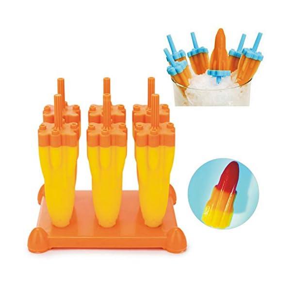 Danigrefinb Rocket - Stampo per cubetti di ghiaccio, 6 scomparti, per budini, gelatine, cubetti di ghiaccio, vaschetta… 2 spesavip