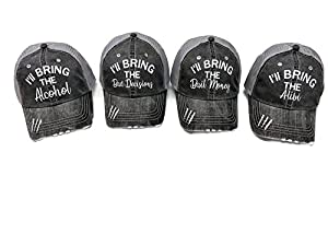 Spirit Caps Set of 4 Glitter I'll Bring The Alcohol Bail Money Bad Decisions Alibi Grey Trucker Cap