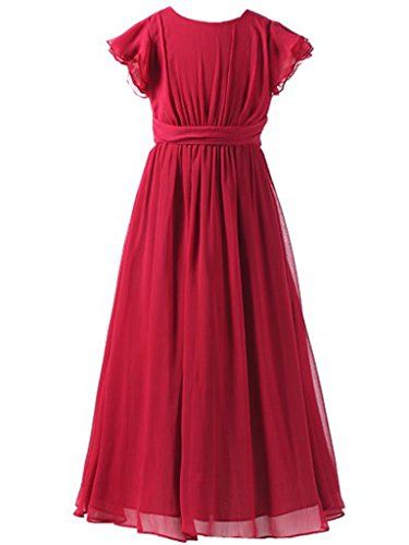 (Happy Rose Flower Girl's Dress Prom Party Bridesmaid Dress Long Wine 16)