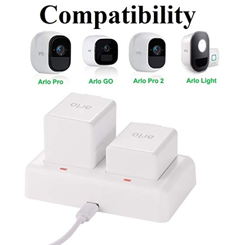 (Arlo Charging Station, Dual Battery Charger for Arlo Pro, Arlo Pro 2, Arlo Go Security Camera, with 5V 3A Quick Charging Adapter and Type-C)