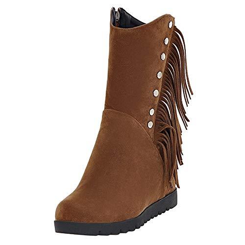 Moda invernali Scarpe Singole Tubo Con boots Bazhahei Shoes Stivale Tacchi Stivali Cunei Stivaletti ragazza Neve Alti Tacco Marrone1 Donna autunno Medi Scarpa Basso Da 6wOBz