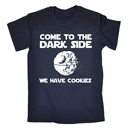 123t Men's COME TO THE DARK SIDE – WE HAVE COOKIES Loose Fit T-shirt (Distressed Style Print)