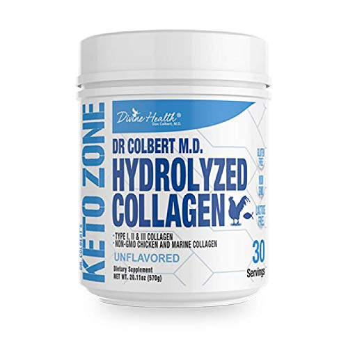 Dr. Colbert's Divine Health Keto Zone Hydrolyzed Type I, II, III Chicken Plus Marine Collagen Powder (Unflavored) Non-GMO, Supports Healthy Skin and Joints formulated by Dr. Don Colbert MD