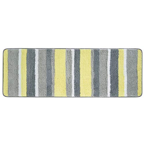 mDesign Soft Microfiber Polyester Non-Slip Extra-Long Spa Mat/Runner, Plush Water Absorbent Accent Rug for Bathroom Vanity, Bathtub/Shower, Machine Washable - Striped Design, 60