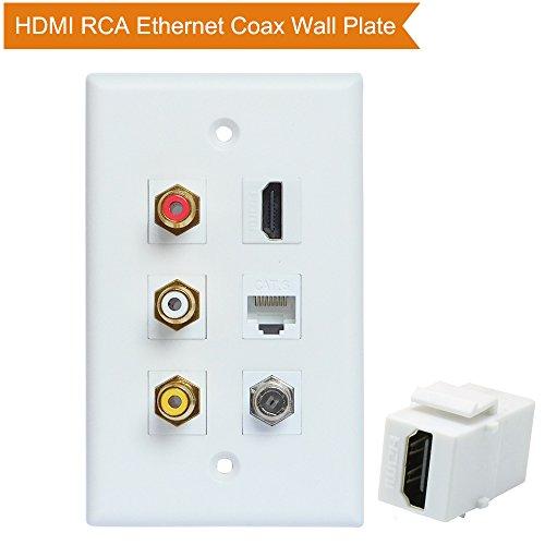 HDMI RCA Coax Ethernet Wall Plate, ESYLink HDMI Coax Ethernet RCA Wallplate - 3 RCA + 2 HDMI + 1 Coax Cable TV Port + 1 Ethernet Port