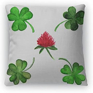 Gear New Throw Pillow, 26×26, Watercolor Irish Clover Shamrock Flower Set Isolated