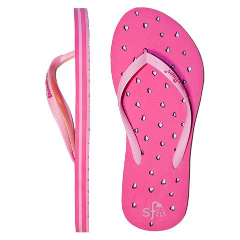 Showaflops Women's Hearts Flip Flops, Fuchsia/Pink, 9/10