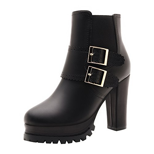 PerfectAZ Women Fashion Round Toe Belt Double Buckle Platform Chunky High Heel Mid Top Pumps(5 B(M) US, Black)