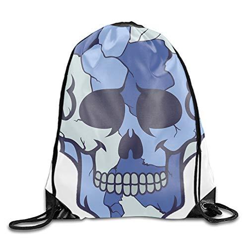 Drawstring Bag Blue Colored Camouflage Sugar Skull Design Lightweight Gym Sackpack for Hiking Yoga Gym Swimming Travel Beach -