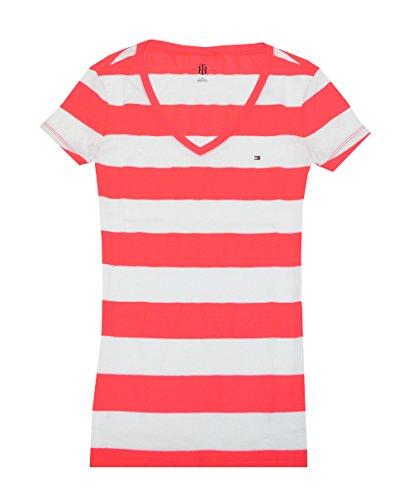 Tommy Hilfiger Women Wide Stripes Logo V-Neck T-Shirt (XXL, Electric Crimson/White)