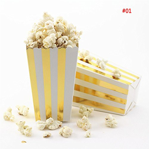 Mwfus Movie Theater Striped Dotted Waved Popcorn Boxes (Pack of 12) Gold