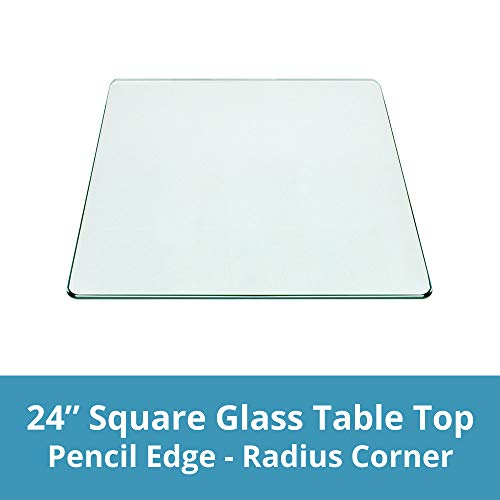 Square Glass Table Top 24 Inch Custom Annealed Clear Tempered, 3/8