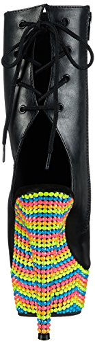 Women's Pleaser Leather Neon Toe 1018RBS and Open Faux Delight Boot Multicolor Black Ankle fpwFxfqr