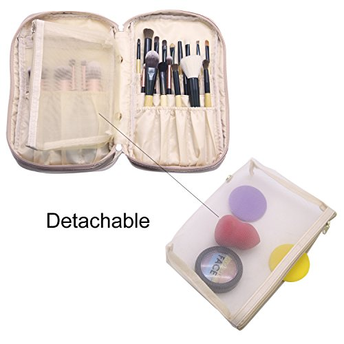 Professional Cosmetic Case Makeup Brush Organizer Makeup Artist Case with Belt Strap Holder Multi functional Cosmetic Bag Makeup Handbag for Travel & Home Gift (Champagne Gold)