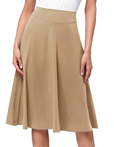 Kate Kasin Casual Long Khaki Skirts Below The Knee Length for Women Plus Size(3XL,Khaki)