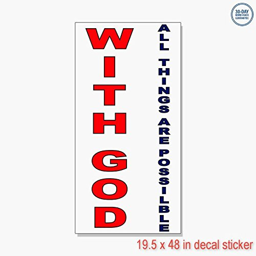 3360 Labels - With God All Things Are Possible Red Blue Vinyl Decal Label Sticker Retail Store Sign - Sticks to Any Clean Surface 19.5 x 48 in
