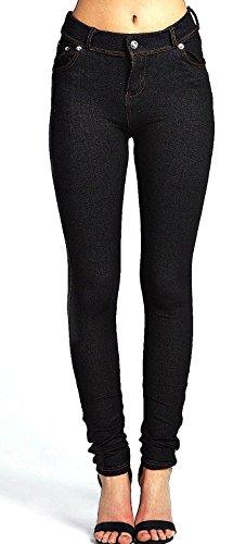 Nuovo Da Donna Fashion Coloured Skinny Jeggings Leggings Plus Dimensioni 8–18 Black