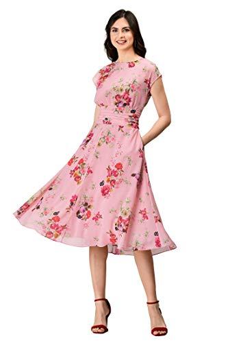 - eShakti FX Floral Print Pleated Empire Georgette Dress Blush Multi