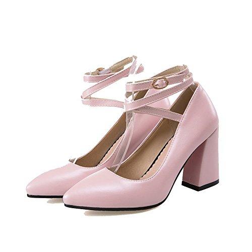 Toe Korkokenkiä Solid Suljetun 37 kengät Solki Naisten Allhqfashion Vaaleanpunainen Pu Pumput YZpnqUY7