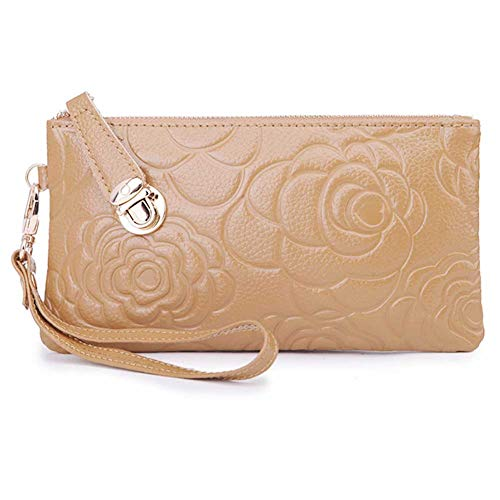 amazon prime deals - Amazon Prime Deals 2017-Women's Genuine Leather Cell Phone Wristlets Wallet,Welegant Zipper Clutch Purse Bag for iPhone Samsung (Rose Flower, Light Brown)