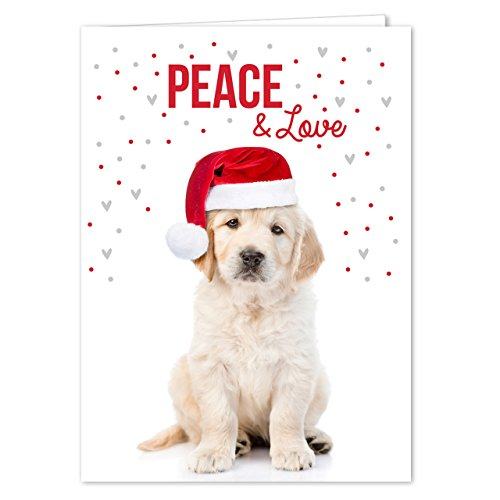 Labrador Love Holiday Card Pack - Set of 25 cards - 1 design, versed inside with - Golden Christmas Retriever Cards