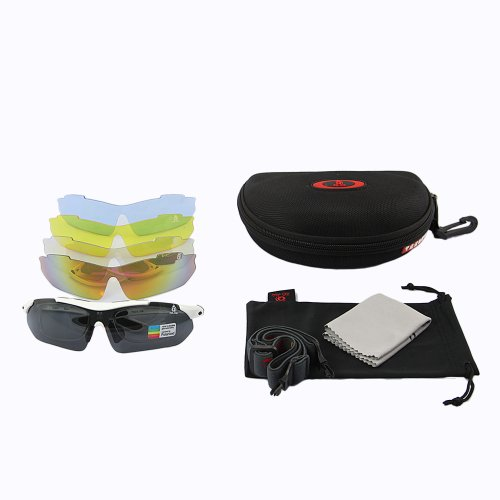 TabStore XQ100 Sunglasses / Cycling Glasses / Multi Sport Sunglasses / Exchangeable Lenses for varying light Conditions with Carry case and Belt Loop White Frame