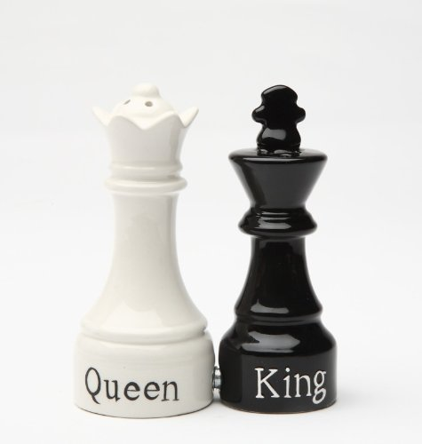 Queen and King Chess Magnetic Ceramic Salt and Pepper Shakers (King Queen Chess)