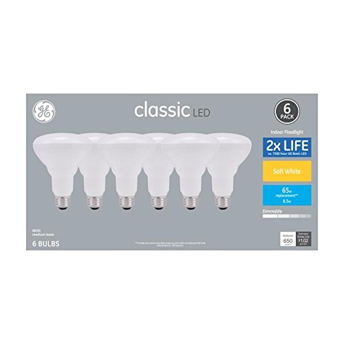 GE Classic 65 W Equivalent Dimmable Soft White R30 LED Light Bulbs, 6-Pack