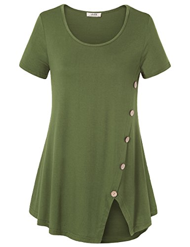 Comfort Neck Button (Vivilli Tunic Tops For Women Short Sleeve, Scoop Neck Solid Comfort Tee Shirts With Decorative Buttons Army Green XX-Large)