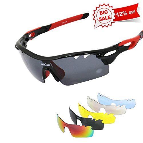 WIKISH Polarized Sports Sunglasses with 5 Interchangeable Lenes TR90 Unbreakable Frame Golf Baseball Running Fishing Riding Cycling Glasses - Black and Red (Polarized Gray 400 Glass Lens)