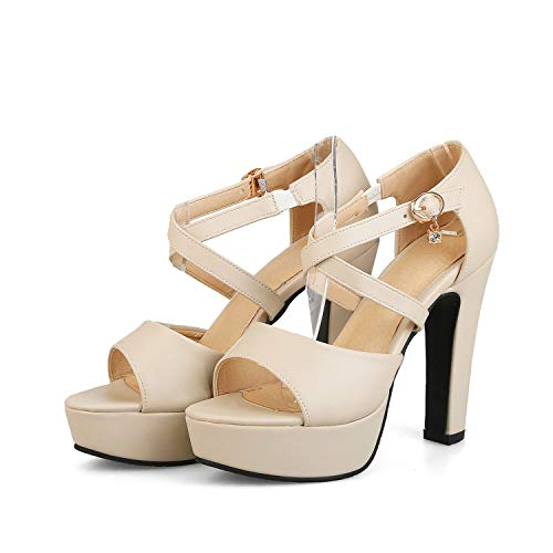 - Women Sandals Sweet Pink Peep Toe Summer Shoes Sexy High Heel Platform Shoes Woman,Beige,9