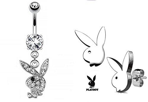 BUNDLE DEAL PLAYBOY BELLY RING AND PLAYBOY STUD - Earrings Playboy Mens