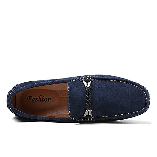 Shenn Men's Slip On Flat Heel Rope Driving Car Loafers Shoes Navy iQjtgc9