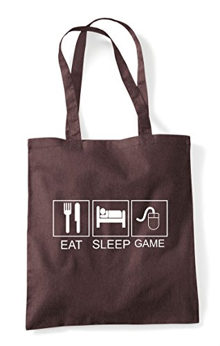 Pc Game Tiles Sleep Mouse Eat Tote Hobby Shopper Activity Brown Bag Funny qEw15xW7
