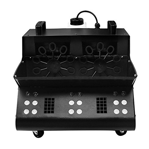 TC-Home 3 IN 1 Stage Fog Bubble Machine with 18 RGB LED light DMX Stage Lighting Fogger Effect w/4 Wheels & 2 Bubble Fans]()