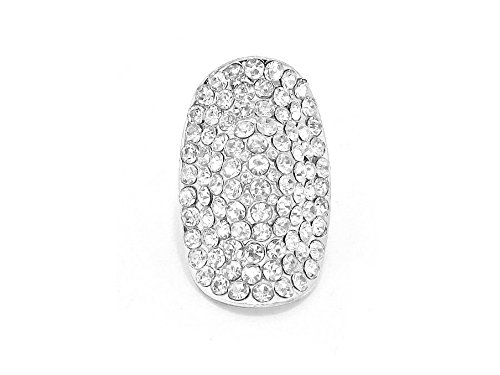 - Occasions Gift Giving Crystal Stone Metal Oval Stretch Cocktail Ring (Silvertone Clear)