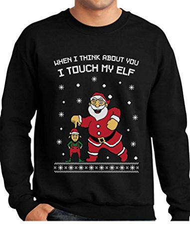 TeeStars - I Touch My Elf Ugly Christmas Sweater Sweatshirt Large Black Ugly Christmas Sweater For Men