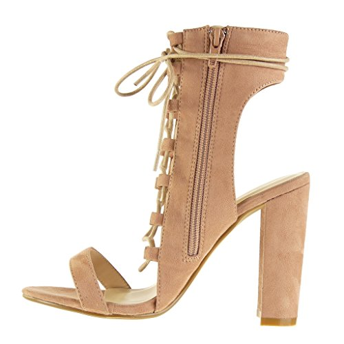 Angkorly - damen Schuhe Sandalen Stiefeletten - Offen - Sexy - Spitze - Multi-Zaum Blockabsatz high heel 11.5 CM - Rosa