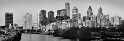 Philadelphia Skyline PHOTO PRINT UNFRAMED Dusk Sunset Black & White TWO STYLES BW Philly City Downtown 11.75 inches x 36 inches Photographic Panorama Poster Picture Standard - South Street Philadelphia Stores