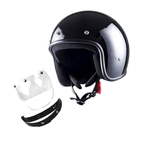 1STorm Motorcycle Open Face Helmet Mopeds Scooter Pilot Half Face Helmet with Detachable Clear Shield, Glossy Black ()