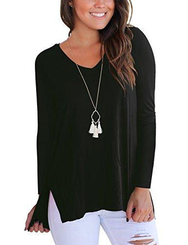 - Aokosor Tee Shirts Women Plus Size V Neck Tshirts for Women Long Sleeve Fall Tops Casual Black XL