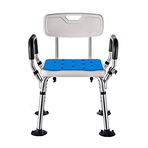 Adjustable Height Bathing Aid for Elderly Disabled and Handicapped Bath Seat Bench Aluminum Alloy Ergonomic Shower Stool Bath Chair Reinforced with Backrest